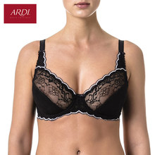 Woman's Bra Lace Black Demi Soft Cup Cotton Lining Large Size Big Breast Support 80 85 90 C D E ARDI Free Delivery N2002-10