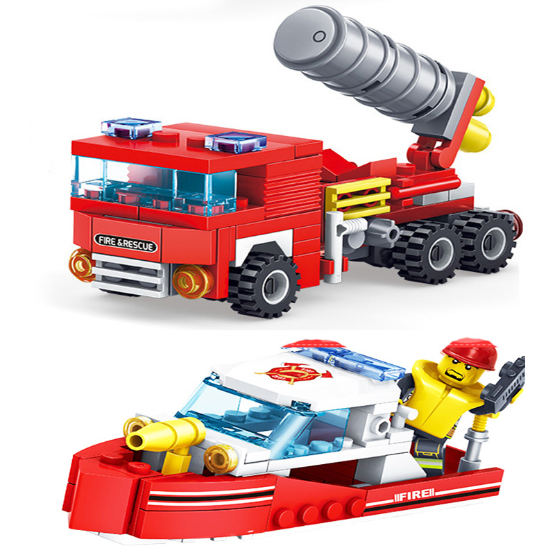 KAZI-80512-City-Fire-Fighting-Car-Helicopter-Boat-Building-Blocks-LegoINGlys-Fire-Fighter-Bricks-Lepin-Technic (3) -