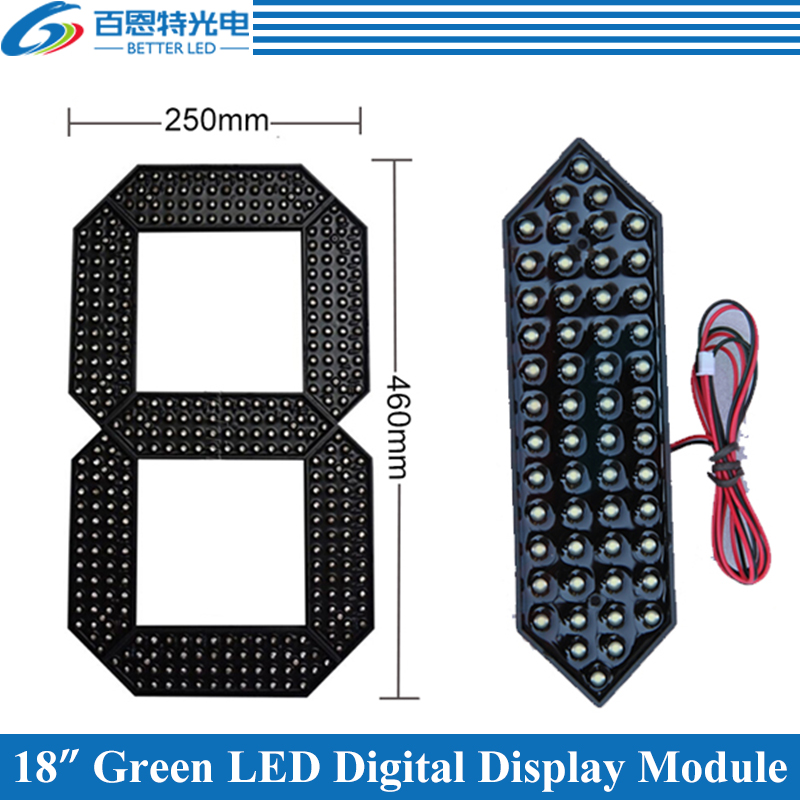 "4pcs/lot 18"" White Color Outdoor 7 Seven Segment LED Digital Number Module for Gas Price LED Display module"