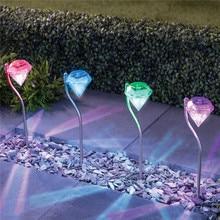 10pcs/Lot Solar Lawn Lamps Diamond Solar Spike Spotlight Landscape Garden Pathway Light Outdoor Grounding Sun Light lightings