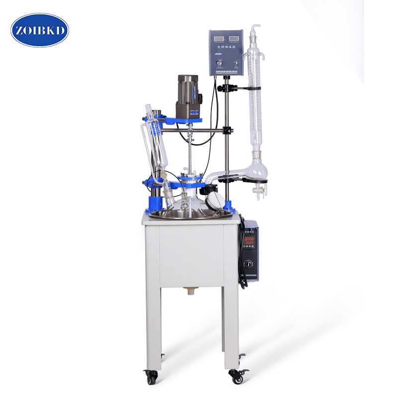 F-10L Single Layer Glass Reactor for a Variety Of Process Operations Dissolution And Chemical Reaction laboratory equipment small single layer glass reactor can do stirring reaction and distillation reflux