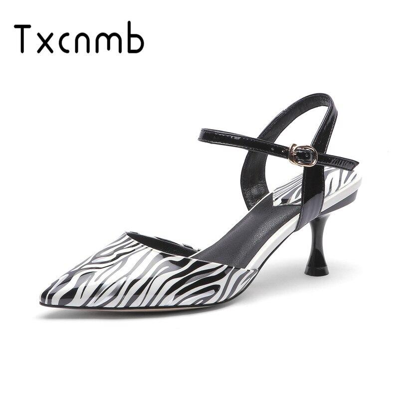 TXCNMB 2019 Sandals women Spring Summer Genuine Leather Women s Sandals Heel Sexy Back Fashion Wedding