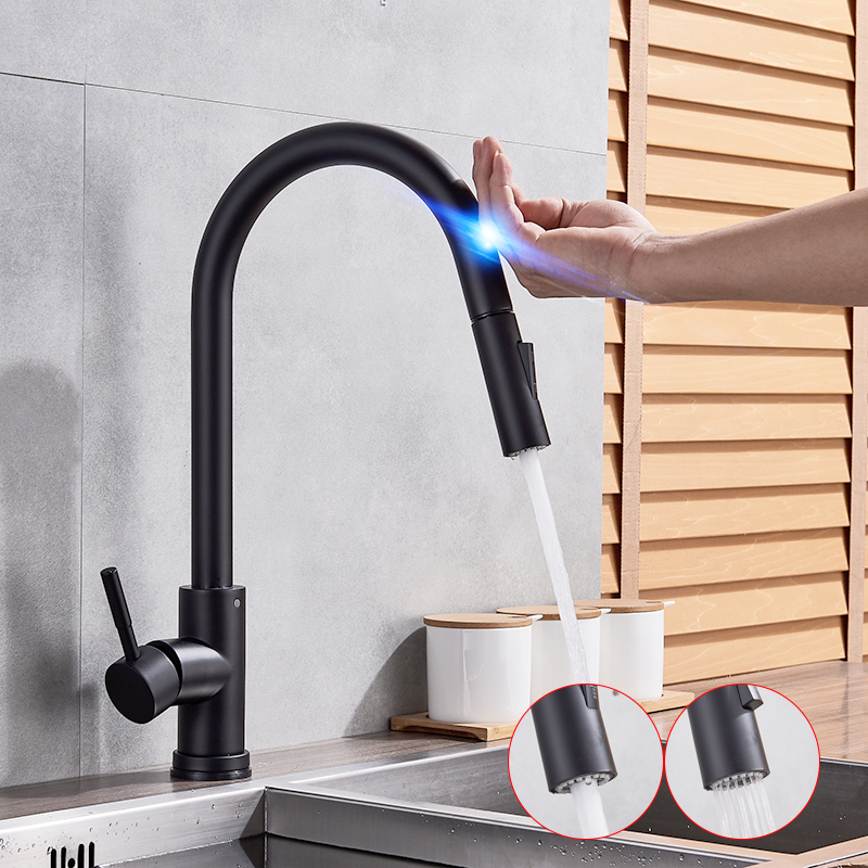 Stainless Steel Sensor Kitchen Faucets Black Touch