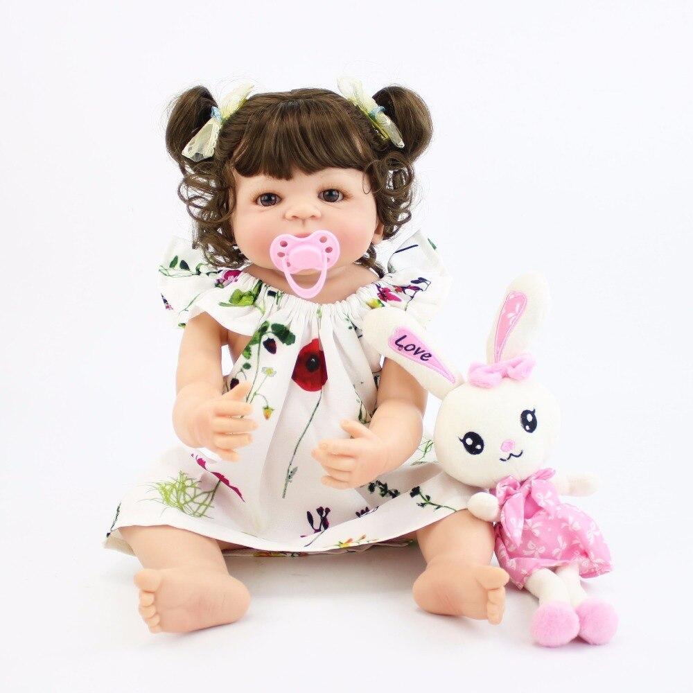55cm Full Body Silicone Reborn Baby Doll Toys For Girls Cheap Bonecas Newborn Princess Bebe Alive