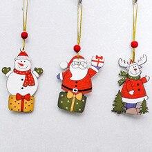 2019 Christmas 1pcs Cartoon Santa Claus Snowman Deer Ornaments Cute Animals Wood Pendant Decoration for Home