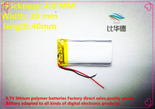 (free shipping)Polymer lithium battery 3.7 V, 402040 270mAh can be customized wholesale CE FCC ROHS MSDS quality certification