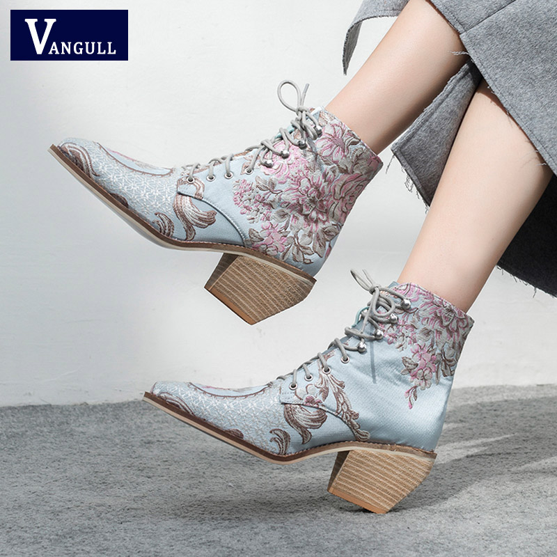 VANGULL high heel ankle boots free shipping women shoes winter woman embroidered boots botines mujer botte femme bottine Flower
