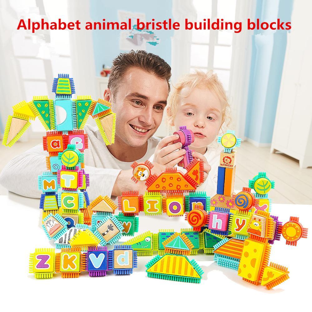 Bloc de construction apprendre à reconnaître les animaux alphabétiques puzzles pour enfants jouet blocs en bois jouet jouets éducatifs