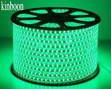 Bande lumineuse LED avec prise d'alimentation, SMD 5050 AC220V, 60 diodes/m, étanche, verte, 1M/2M/3M/8M/10M/15M/20M