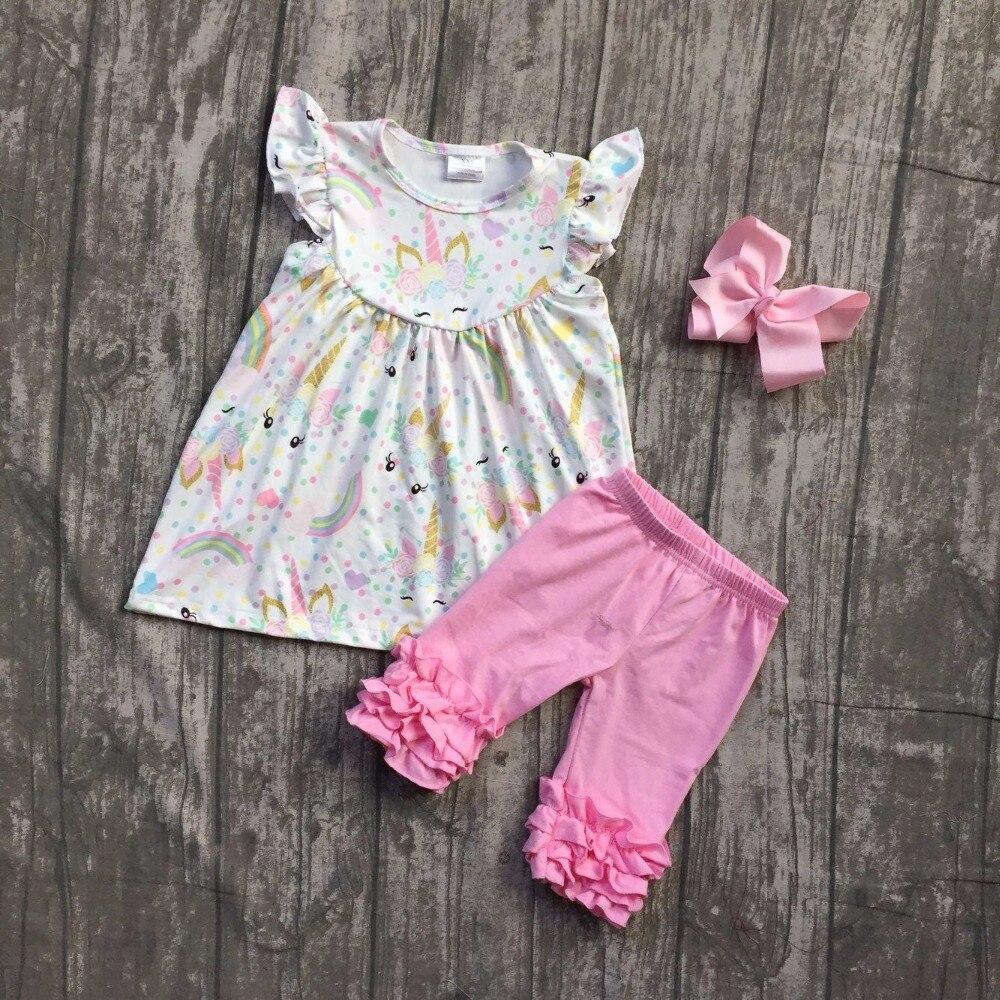2018 Новое поступление супер милый розовый единорог рукава для маленьких девочек летом бутик одежды розовой пудры Капри с соответствующими л...