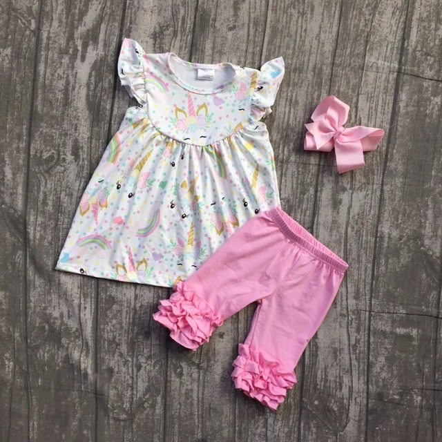 2018 new arrival Super cute pink unicorn sleeves baby girls Summer boutique  clothing pink icing capris with matching bow 68ec11e25