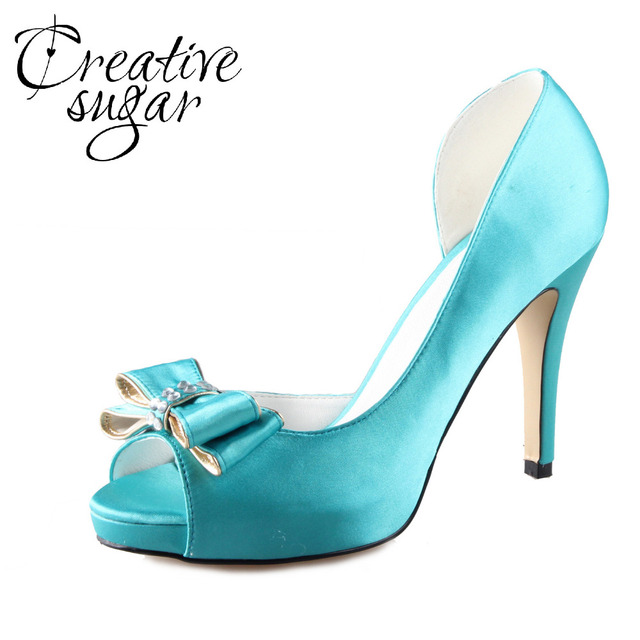 Creativesugar Handmade turquoise aqua blue D orsay bow bowknot shoes custom  made pumps wedding party prom open toe dress shoes 22361fe5331b