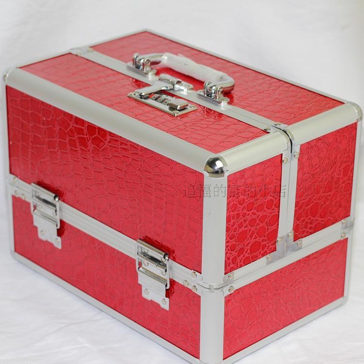 Wholesale!High quality red/black crocodile pvc cosmetic box,red/black professional makeup case,30cmx20cmx19cm