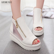 ARSMUNDI Women shoes sandals 2019 new summer fashion Increase within mesh ladies fish mouth open toe casual M497