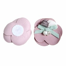 100pcs/lot DIY 2.6 2 Layers 3 Petals Flowers with Pearls and RibbonBow Fabric For Baby Hairband Girls Hair Accessory