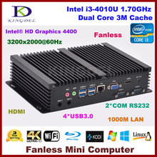 Без вентилятора настольных ПК Intel Core i3 4010U/i3 5005U/i5 4200U Двухъядерный Intel HD Graphics HDMI WI-FI VGA 2 * COM RS232 Mini PC NC320