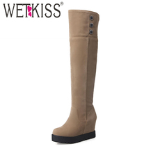 WETKISS Big Size 34 43 Height Increasing Over the Knee Boots Add Fur Women s Winter
