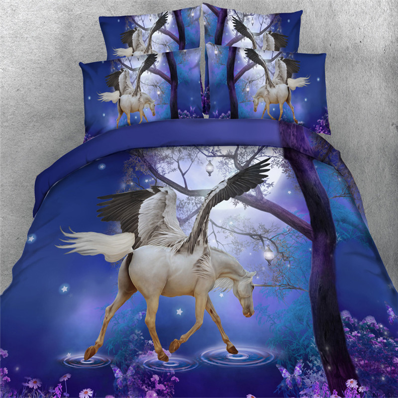New 3d dreamlike blue purple unicorn Bedding sets Twin/Queen/Full/King Sizes Horse Quilt Cover 4/3Pc Kids Girl Bedspreads 500tc