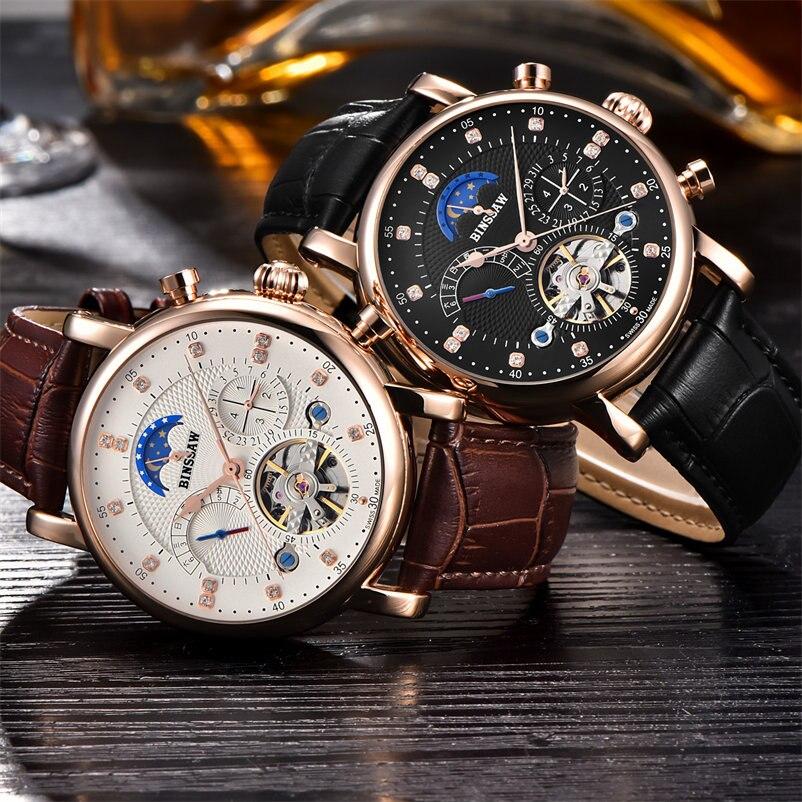 BINSSAW montre mécanique hommes Sport Tourbillon automatique Top luxe marque Relojes Hombre cuir Phase de lune montres relogio - 4