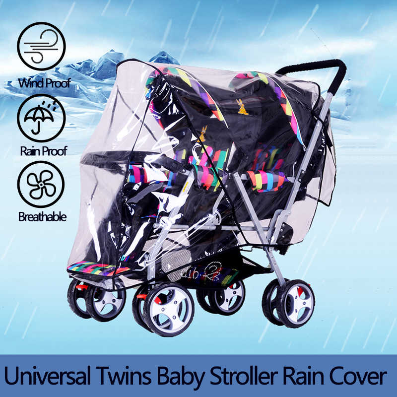 Twins Stroller Rain Cover Foldable Double Pushchair PVC Wind Shield Baby Stroller Accessories Universal Raincoat for Wheelchair