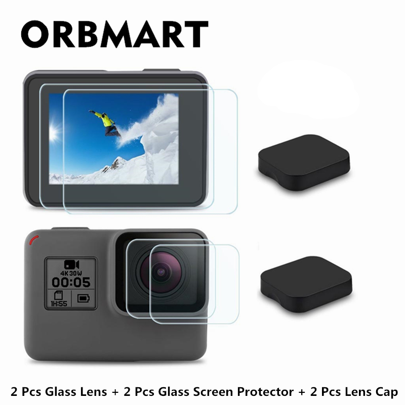 ORBMART 6 Pcs(Every 2 Pieces) Lens Cap Cover Case + Glass Lens and Screen Protector Film For Gopro Hero 5 6 7 Black Camera jinserta black plastic lens cap cover for gopro hero 6 black edition camera go pro 6 5 accessories protector case