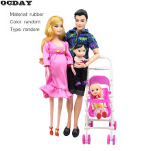 OCDAY Toys Family 5 Orang Dolls Suits 1 Mom / 1 Dad / 1 Little Kelly Girl / 1 Bayi Anak / 1 Kereta Bayi Nyata Boneka Hamil Hadiah