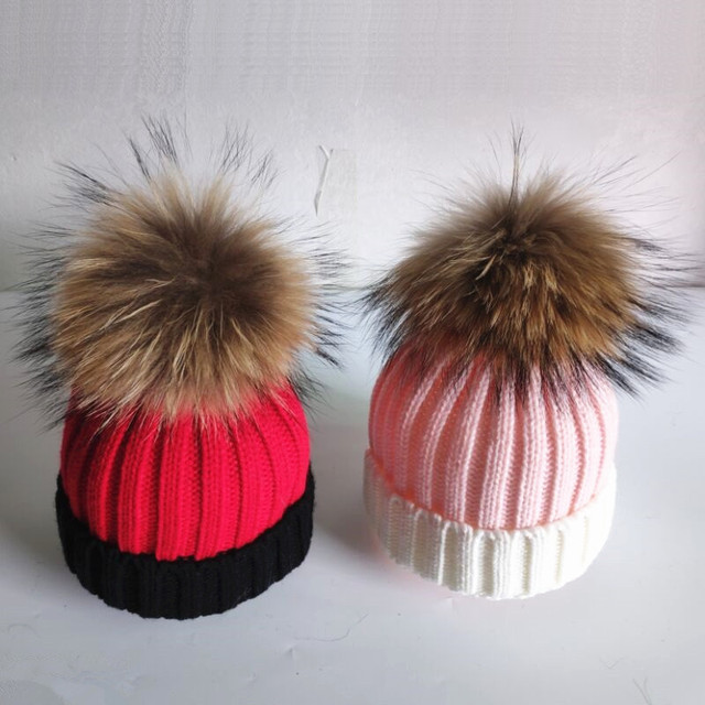 Winter Girls Real Fur Pompoms Knitted Beanies Boy Skullies Hot Kids Warm Big  Genuine Fur Hairy ball Hats Child Curled Hats e06cfdb1a11d