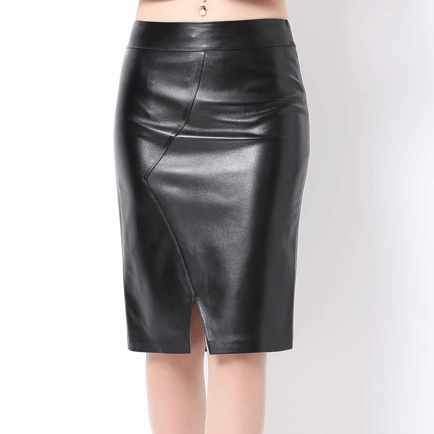 3fea536d140 Women Soft Genuine Leather Skirt High Waist Slim Hip Pencil Skirts Vent  Vintage Bodycon Ol Midi