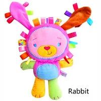 Kinderen molaire speelgoed Baby Troostende pop met BB rammelaars Speelgoed 0-6 jaar Lion/Konijn/Olifant/lam/Aap Sussen poppen