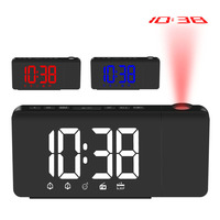 Digital Radio Alarm Clock Projection Snooze Timer LED Display USB Charge Cable Table Wall FM Radio Clock