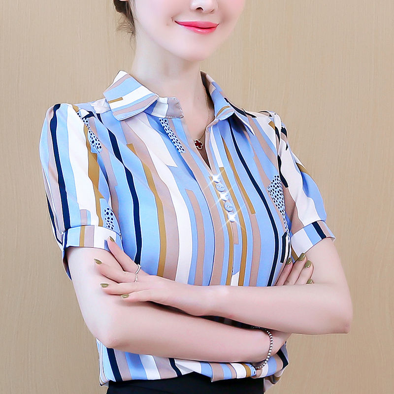 Women Spring Summer Style Chiffon Blouses Shirts Lady Casual Short Sleeve Striped Turn-down Collar Blusas Tops DF2802