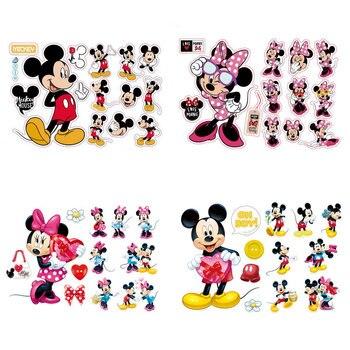 Gran oferta de Mickey Mouse Minnie Mouse de dibujos animados lindo pegatinas de pared para cuarto de baño nevera de vidrio, decoración de habitaciones de niños, decoración para el hogar
