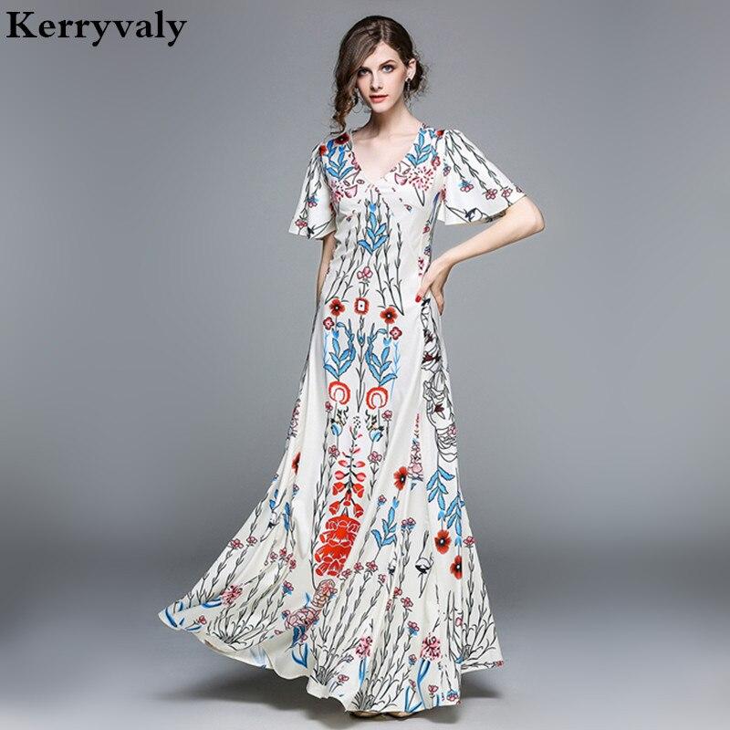 Robe Vintage Summer Long Party Designer Dresses Runway 2018 High Quality V-neck Print Floral Maxi Dress Vestido Longo K5287