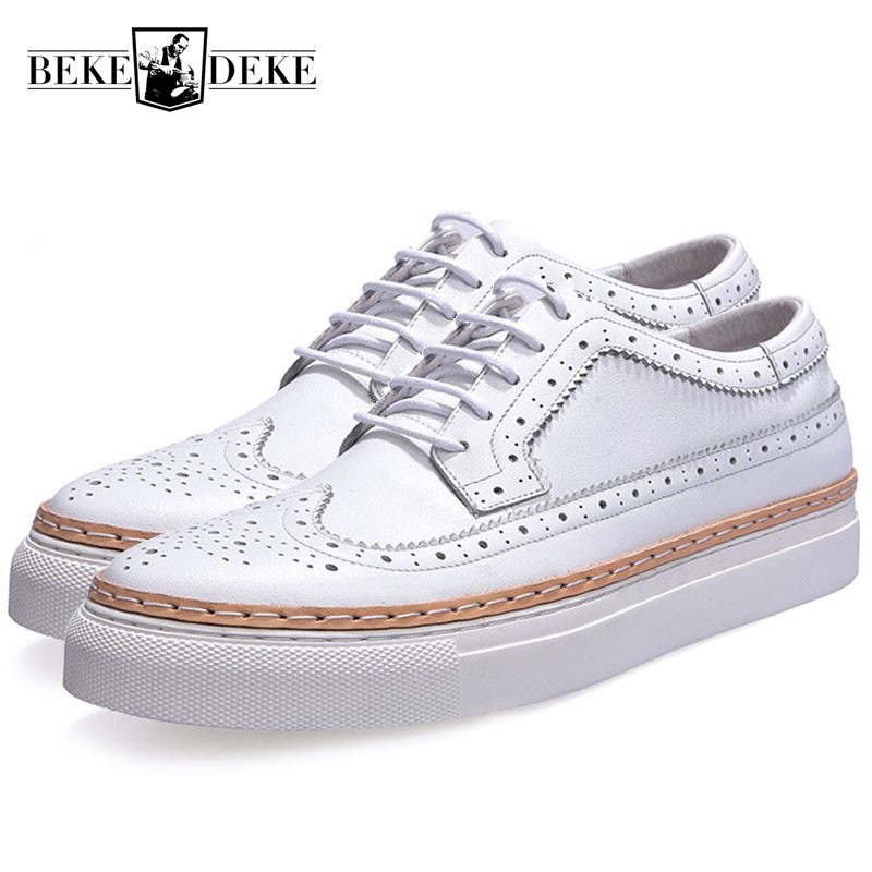 2018 New Summer Man Breathable Shoes Retro Genuine Leather Men Casual Shoes Fashion Lace Up Match Color Man Brogue Shoes Sapatos genuine leather mens casual sapatos shoes cross straps male runway sandals roman summer shoes flats 2018 man fashion leather