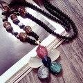 Envío Libre Del Suéter largo de la Cadena de Moda de joyería de ópalo de Cristal largo Collar de Cadena de la Capa de cinco hojas flor collar