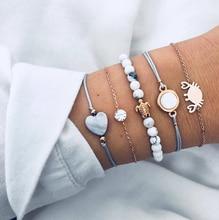New Fashion 5Pcs/Lot Boho Women Beads Bracelet Set Personality Stone Turtle Love Crab Bohemian Bangles Bracelet Jewelry Gifts