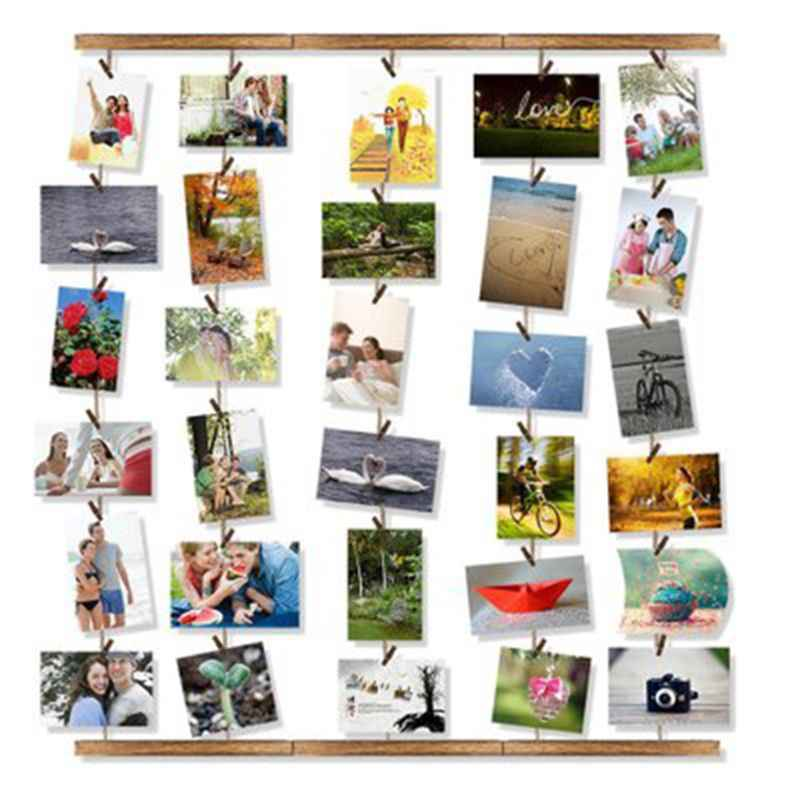 Wooden Picture Photo Frame For Wall Decor Ajustable Twines Collage Artworks Prints Organizer Hanging Display Frames 28x26in
