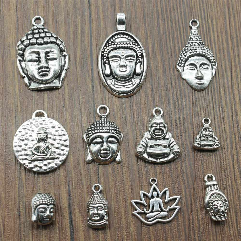 10pcs/lot Charms Buddha Antique Silver Color Buddha Statue Pendant Charms Buddhism Buddha Charms For Jewelry Making