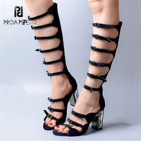 Prova Perfetto Suede Buckle Straps Women Gladiator Sandals Hollow Out High Heel Summer Boots Transparent Heel