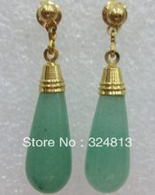 Natural Jade verde 18 K GP teardrop brinco # 2224(China)