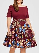 XL-5XL women slash neck short sleeve floral print patchwork dress lady spring vintage dress work office formal dress plus size vintage slash neck 3 4 sleeve cherry print dress for women