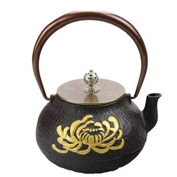 2017 1L Southern Japanese Cast Iron Teapot Handpainted Gourd Kettle Chrysanthemum Kung Fu Creative Drinkware