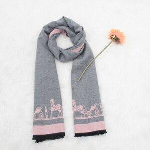 Image 5 - Kaşmir eşarp yüksek kaliteli bayanlar sonbahar kış moda arabası baskı kalın uzun kaşmir eşarp şal kadın sarar