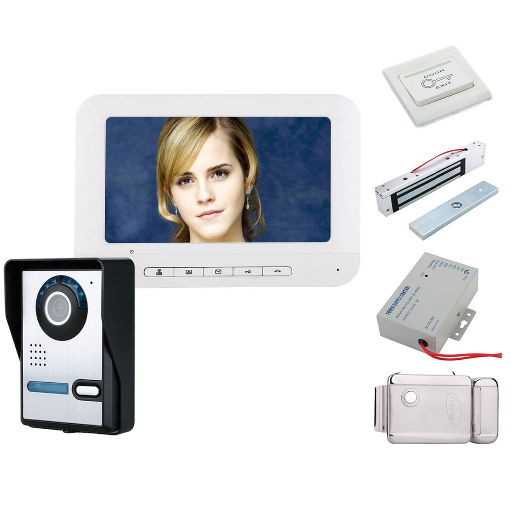 Home Security 7 Inch TFT Video Door Phone Doorbell Intercom Kit 1-camera 1-monitor Night Vision 700TVL Camera+Electronic Locks