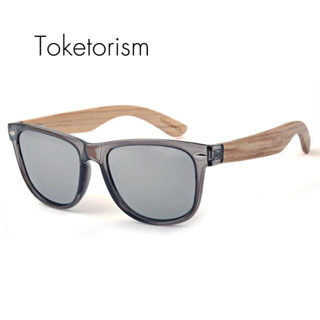 2017 hecho a mano de Madera gafas de sol Polarizadas Marco de madera gafas de sol Gris Transparente para hombres mujeres 1051