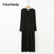 Black Knitted Dress V-neck Single Breasted Casual Plus Size Long Sleeve Midi Straight Basic Vestidos KKFY3153
