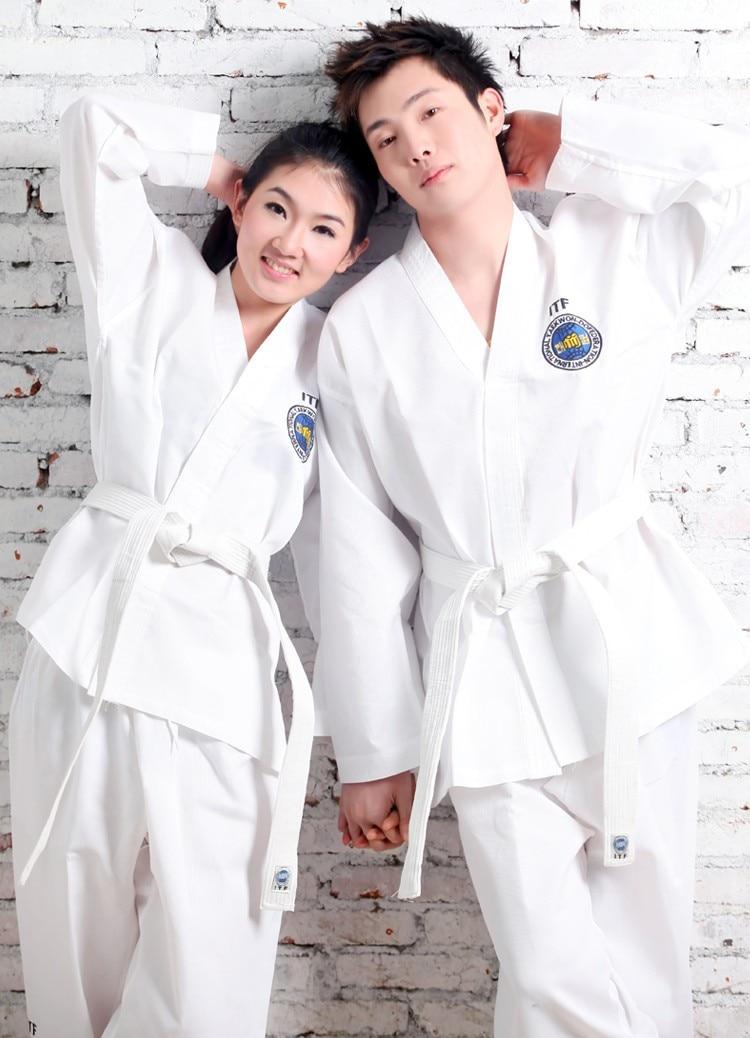 Free Shipping Taekwondo Uniforms Child Adult Dobok Suits Size110 Cm To 190cm White