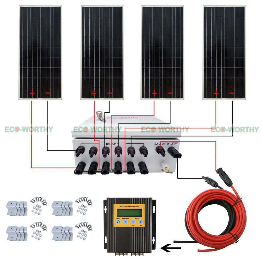 400w Off Grid Complete Solar Panel Systems With Z Brackets