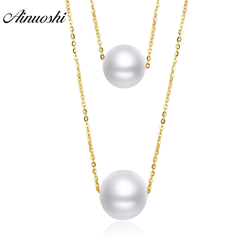 AINUOSHI 18K Yellow Gold Natural Cultured Freshwater Pearl Elegant Women Engagement Necklaces for Wedding Real 18k Gold Jewelry браслет на ногу other 18k