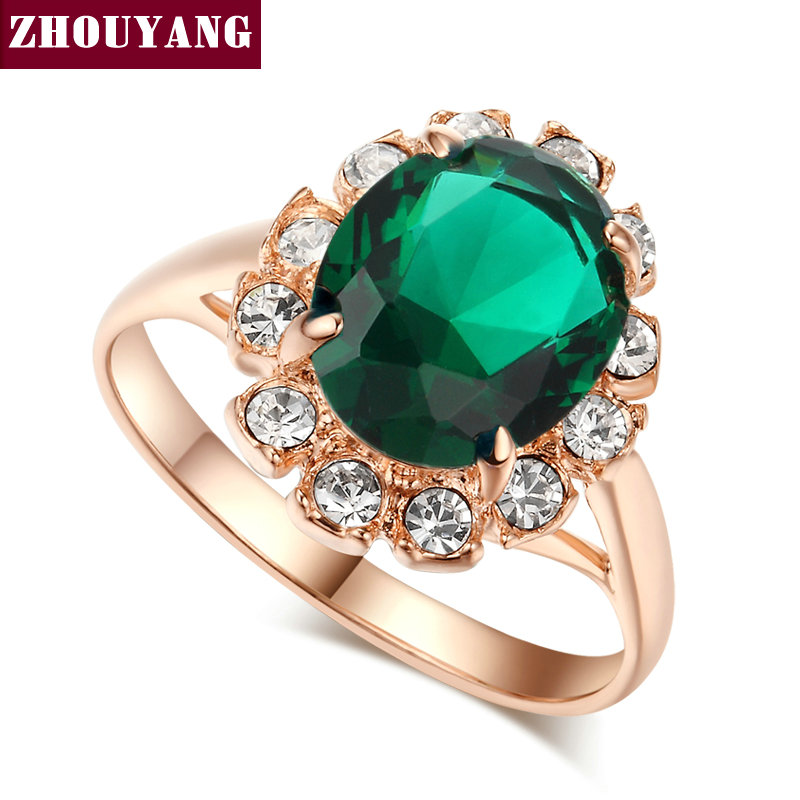 ZHOUYANG Top Quality Rose Gold Color Created Green Crystal Finger Rings Elegant Brand Jewelry CZ Austrian Crystal For Women R088